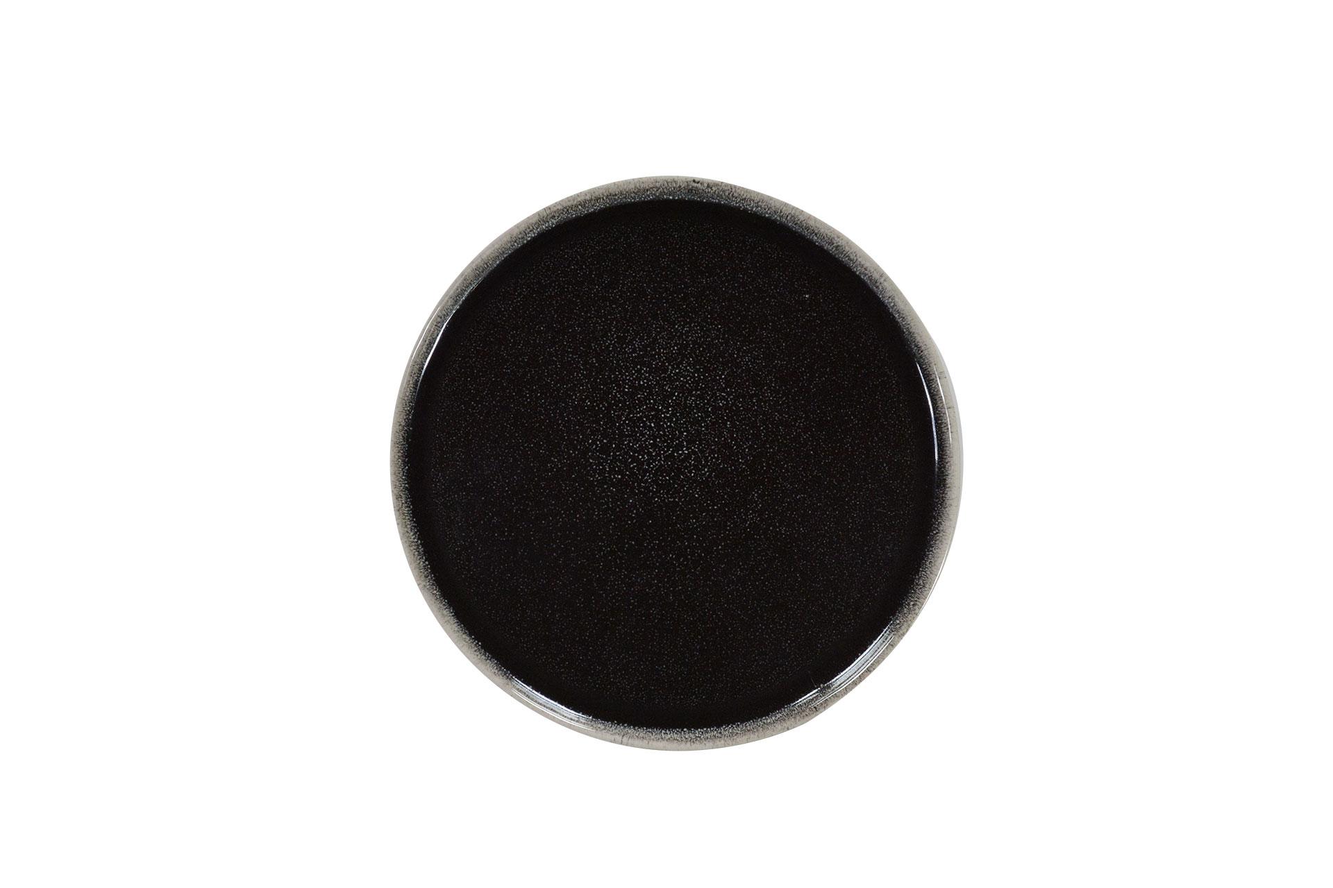 Assiette dessert en grès artisanal brun 22 cm - Lot de 6