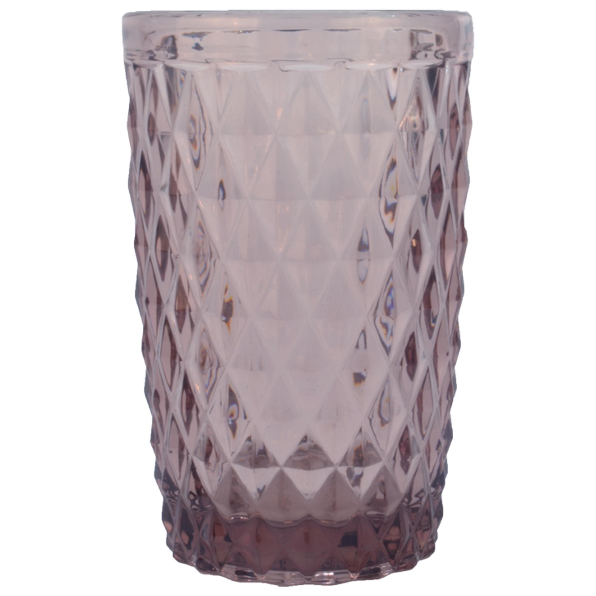 Chope en verre pressé rose 34 cl - Lot de 6