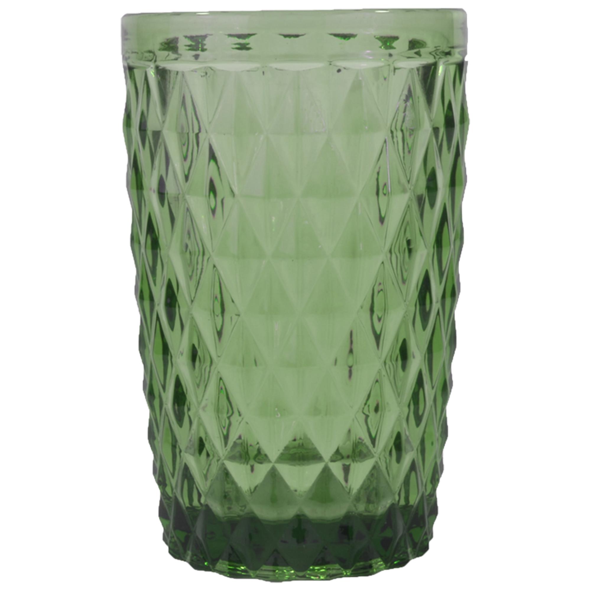 Chope en verre pressé vert 34 cl - Lot de 6