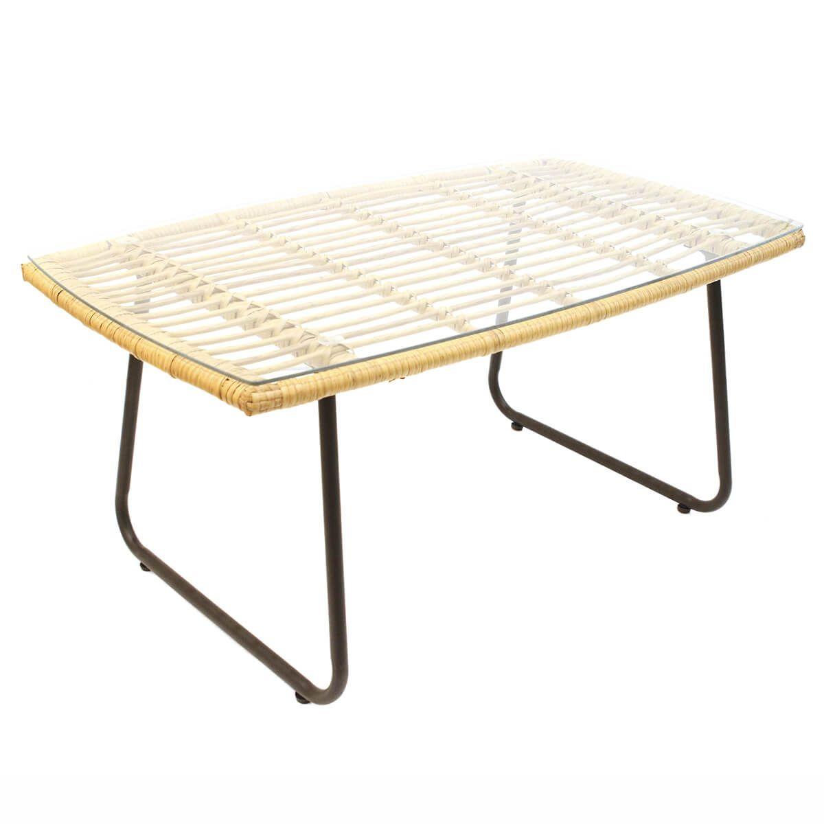 Table basse rectangulaire plateau verre