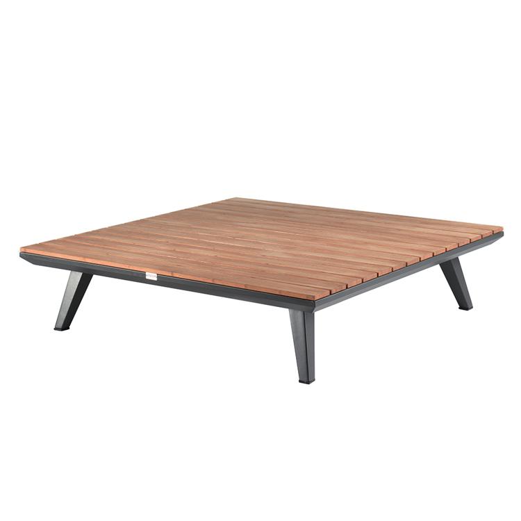 Table basse carrée en alu et teck