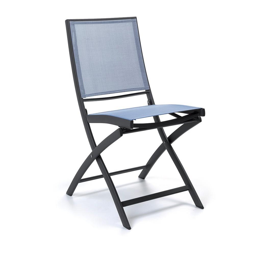 Chaise pliante alu anthracite textilène gris