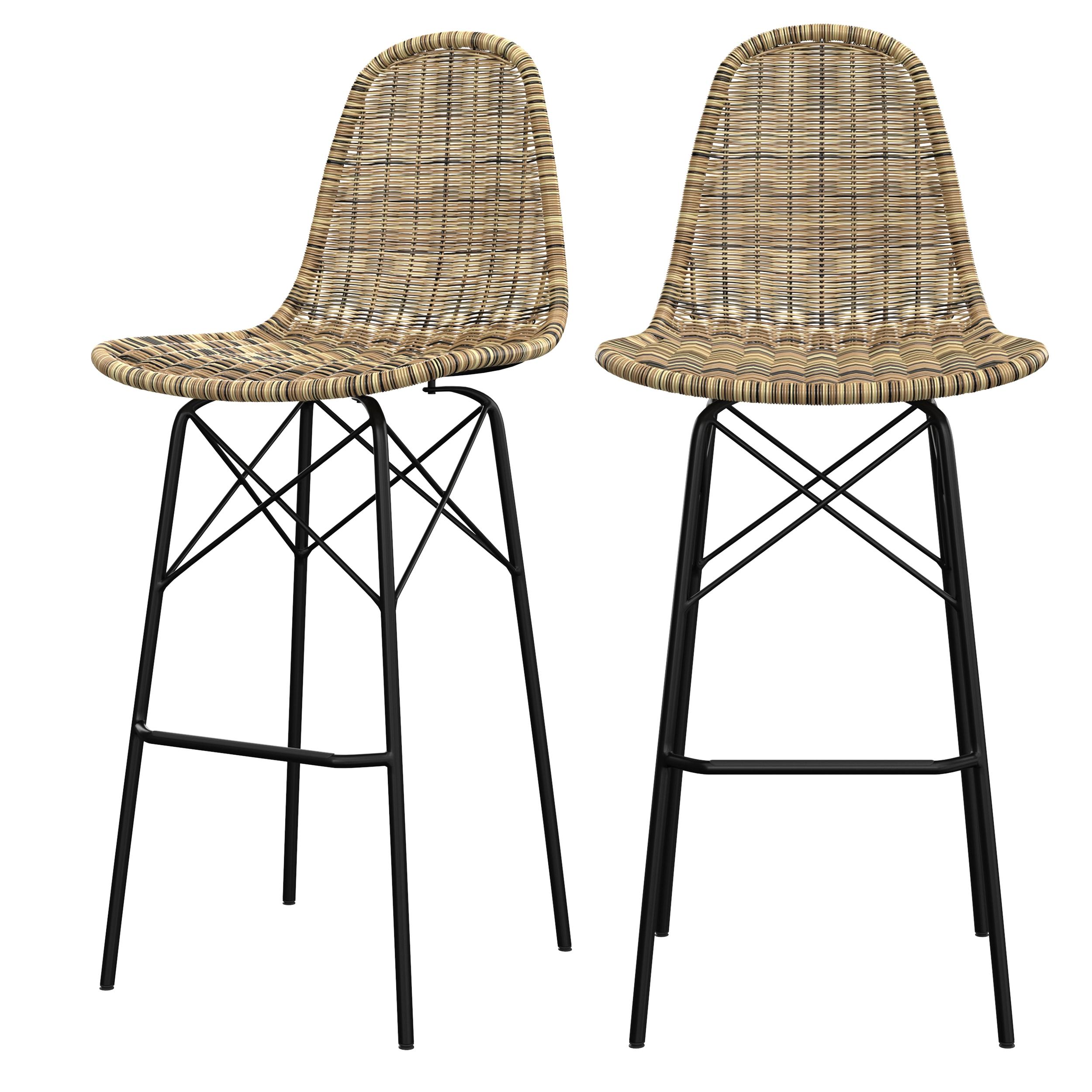 Chaise de bar 76 cm en résine tressée beige (lot de 2)