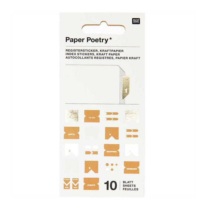 10 feuilles d'autocollants registre papier kraft