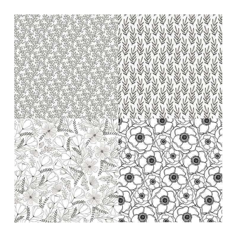 4 papiers calque Japonais botanique N&B 90 g 30x30cm