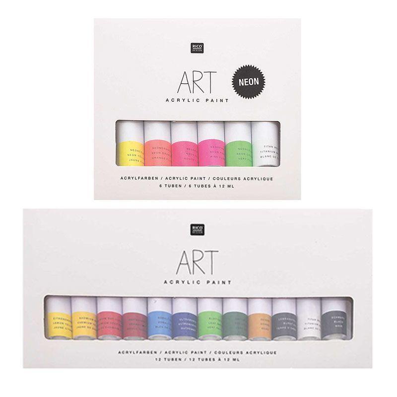 Set peinture acrylique 6 fluo 12ml avec 12 basique 12ml