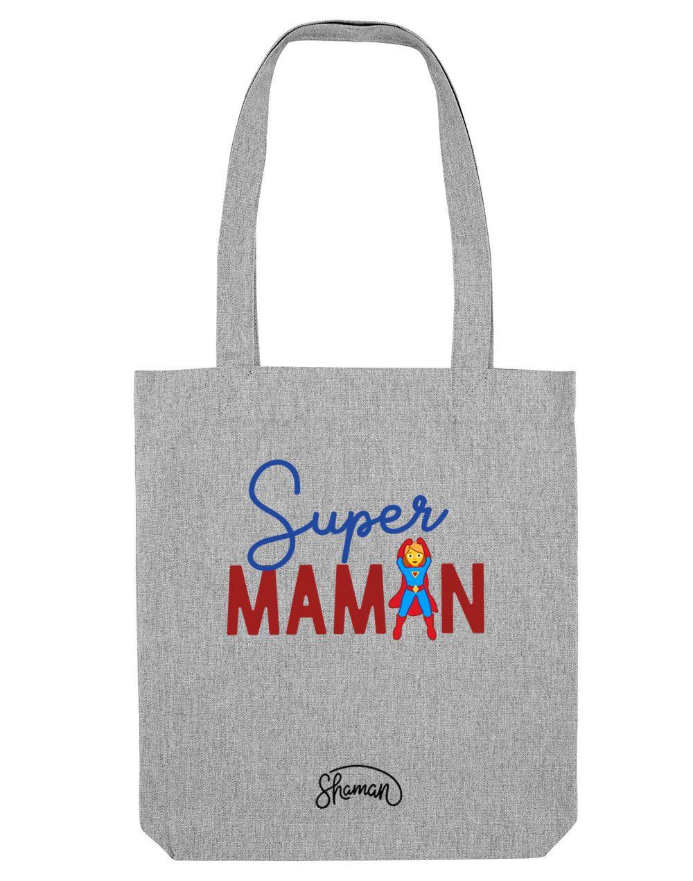 SUPER MAMAN - Tote Bag  Gris chiné  en coton