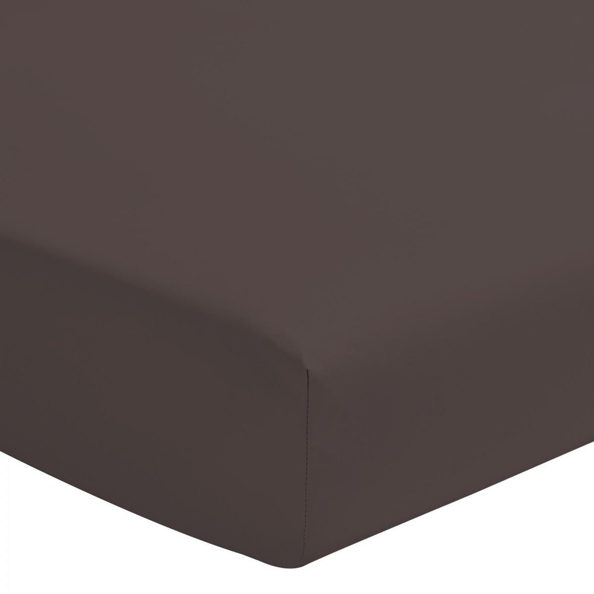 Drap Housse Uni 100% Coton Bonnet 30cm Chocolat 140x200cm