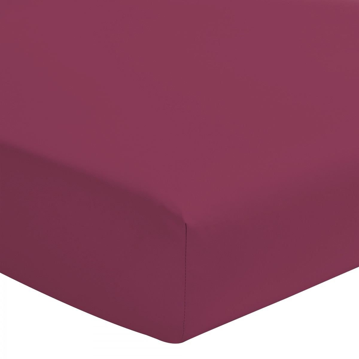 Drap Housse Uni 100% Coton Bonnet 30cm Fushia 140x200cm