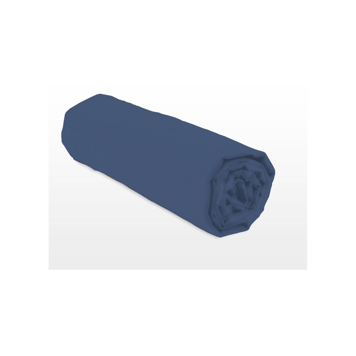 Drap Housse Uni 100% Coton Bonnet 25cm Bleu 160x200cm