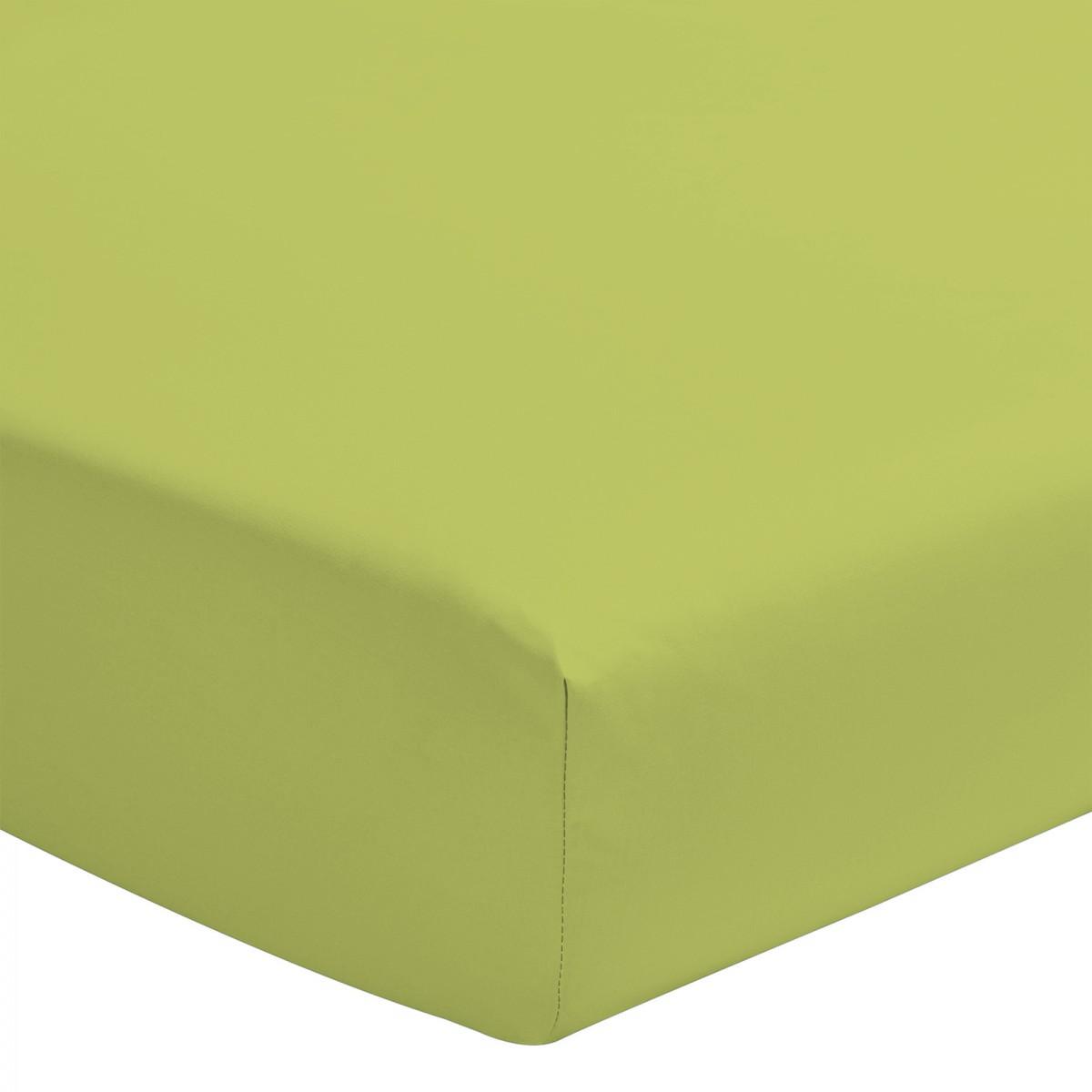 Drap Housse Uni 100% Coton Bonnet 30cm Vert Anis 140x200cm