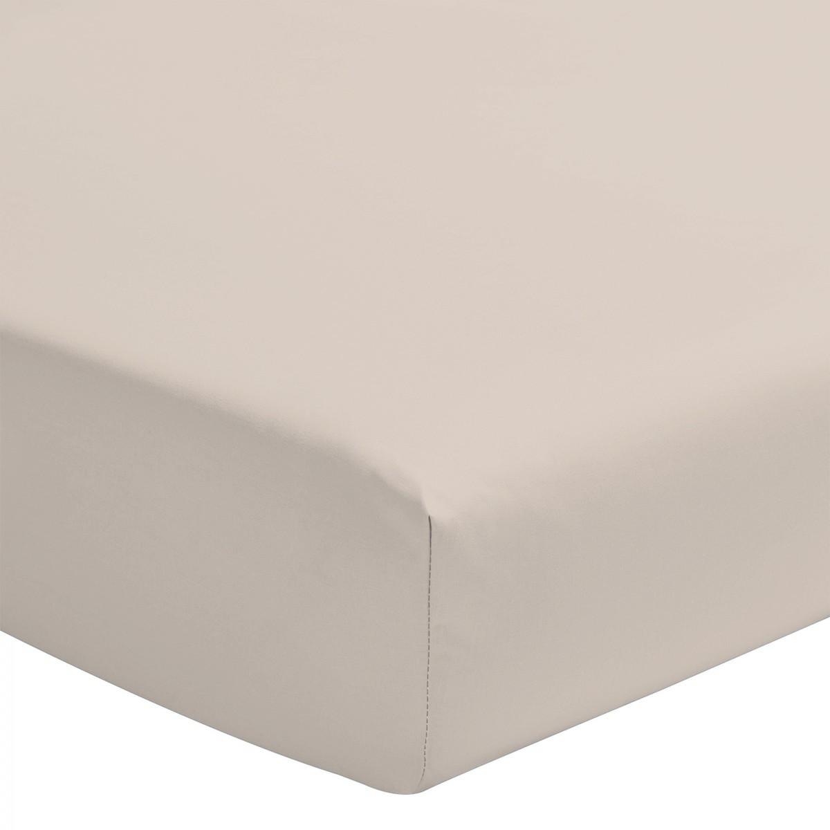 Drap Housse Coloré Uni 100% Coton Bonnet 25cm Beige Crème 140x190cm