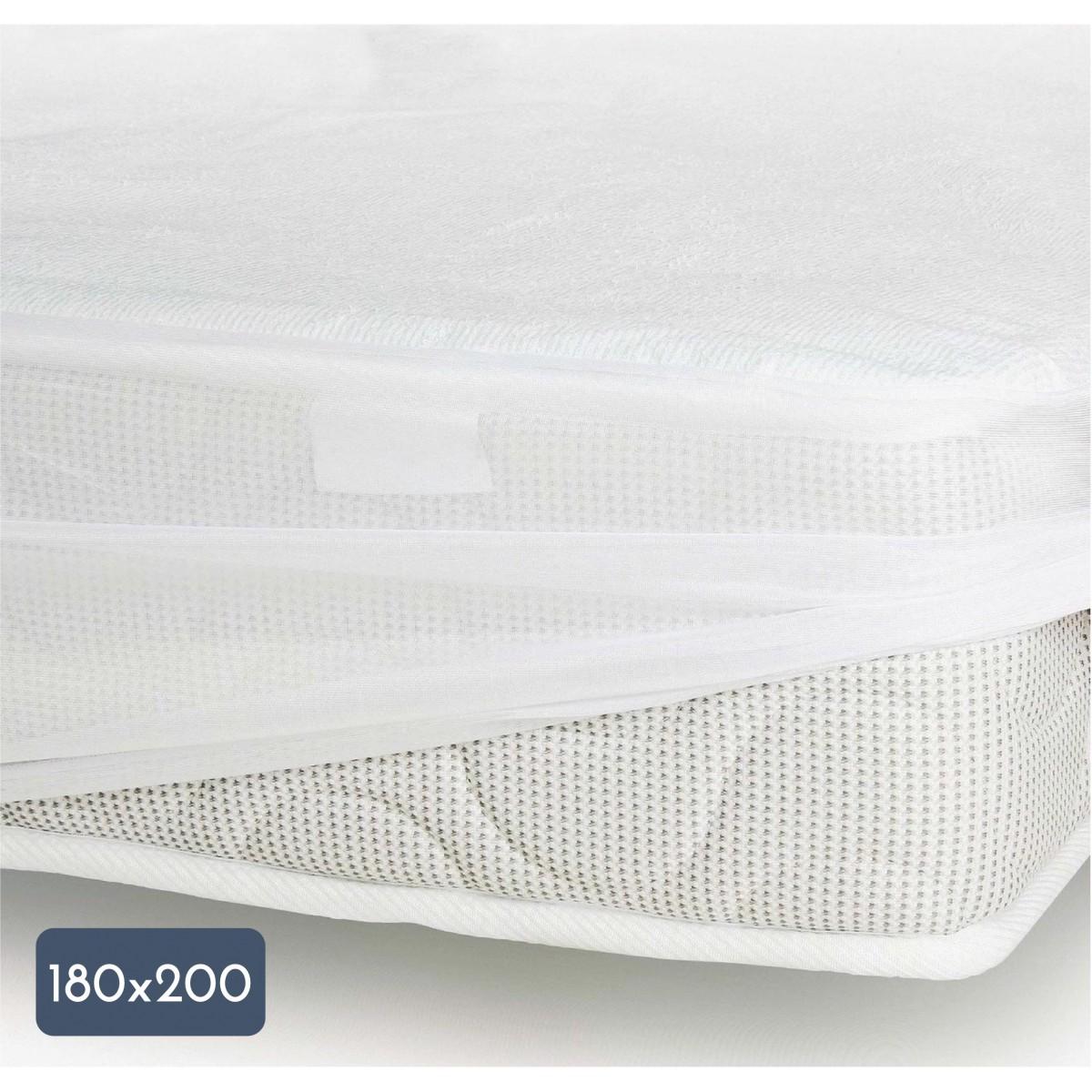 Protège Matelas Coton-Polyester Imperméabilisé Blanc 180x200cm