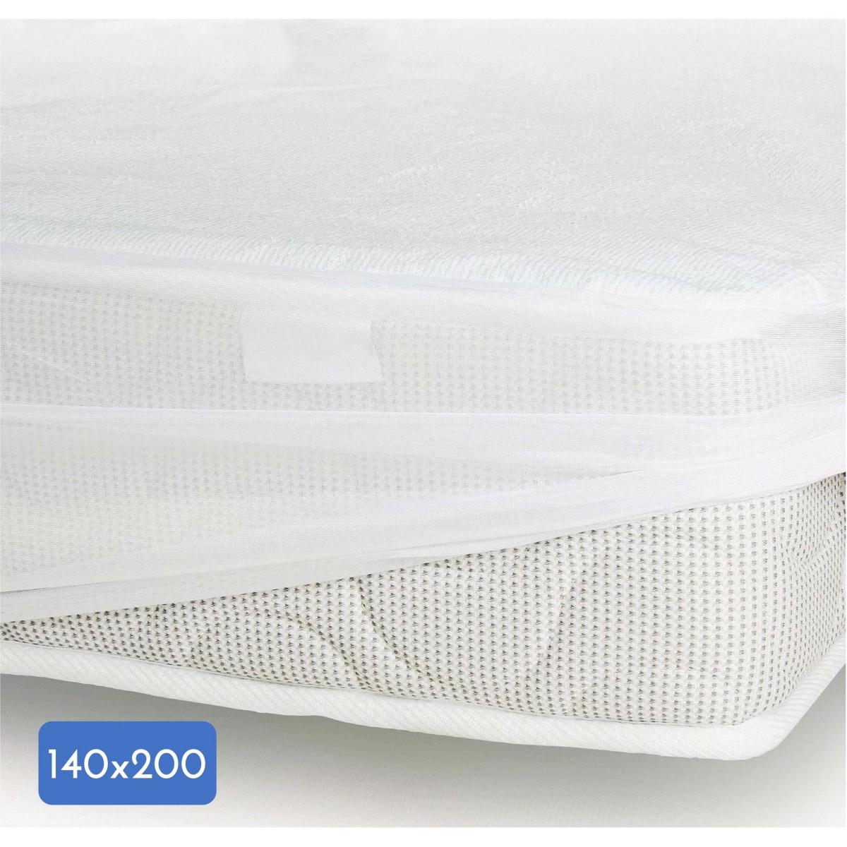 Protège Matelas Coton-Polyester Imperméabilisé Blanc 140x200cm