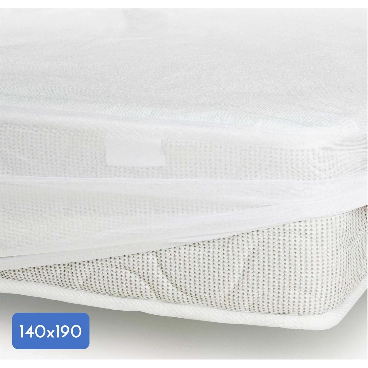 Protège Matelas Coton-Polyester Imperméabilisé Blanc 140x190cm