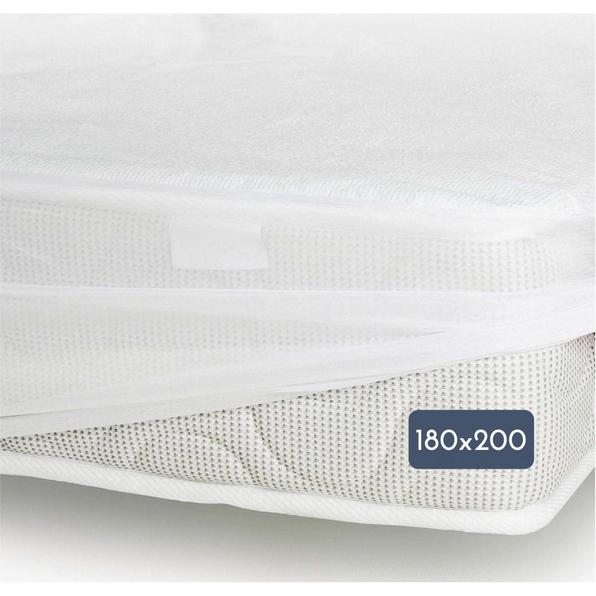 Protège Matelas Mixte Bambou Jersey Imperméabilisé Blanc 180x200cm