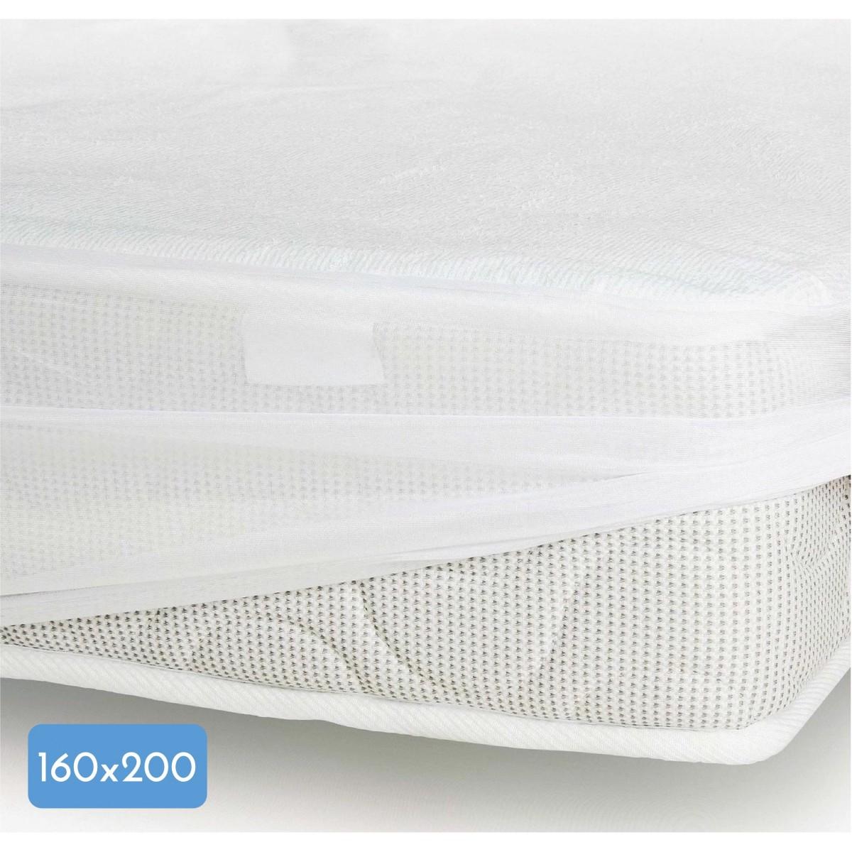 Protège Matelas Coton-Polyester Imperméabilisé Blanc 160x200cm