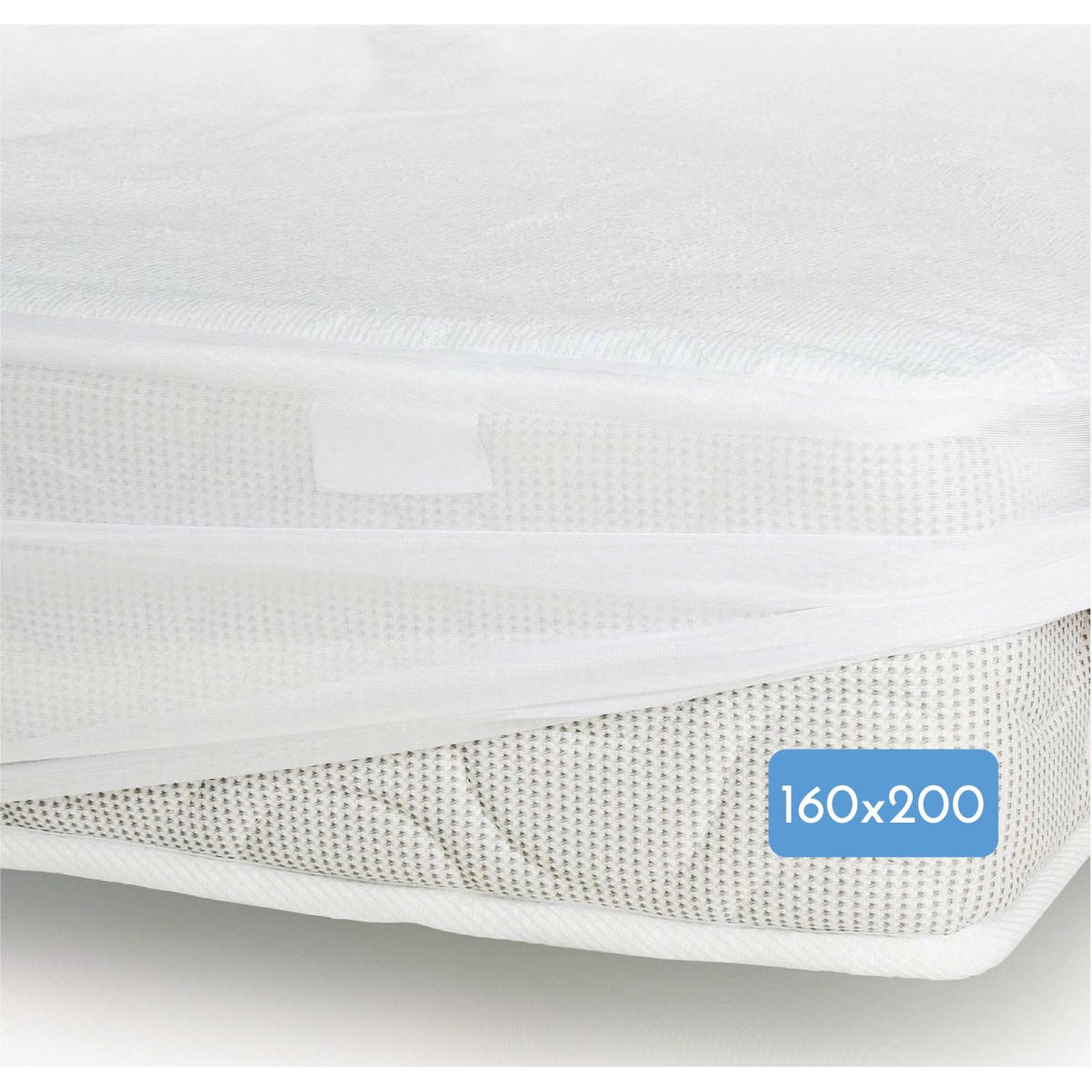 Protège Matelas Mixte Bambou Jersey Imperméabilisé Blanc 160x200cm