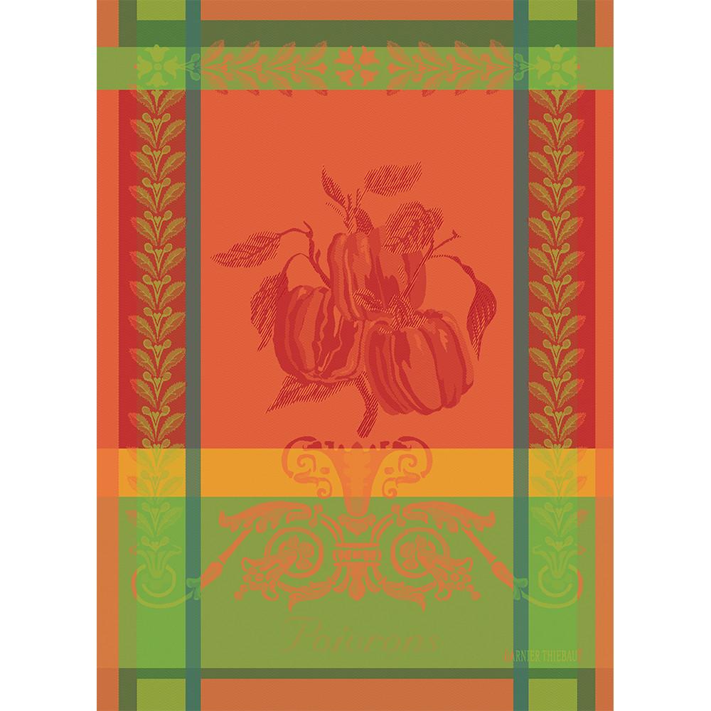 Torchon  pur coton orange 56x77