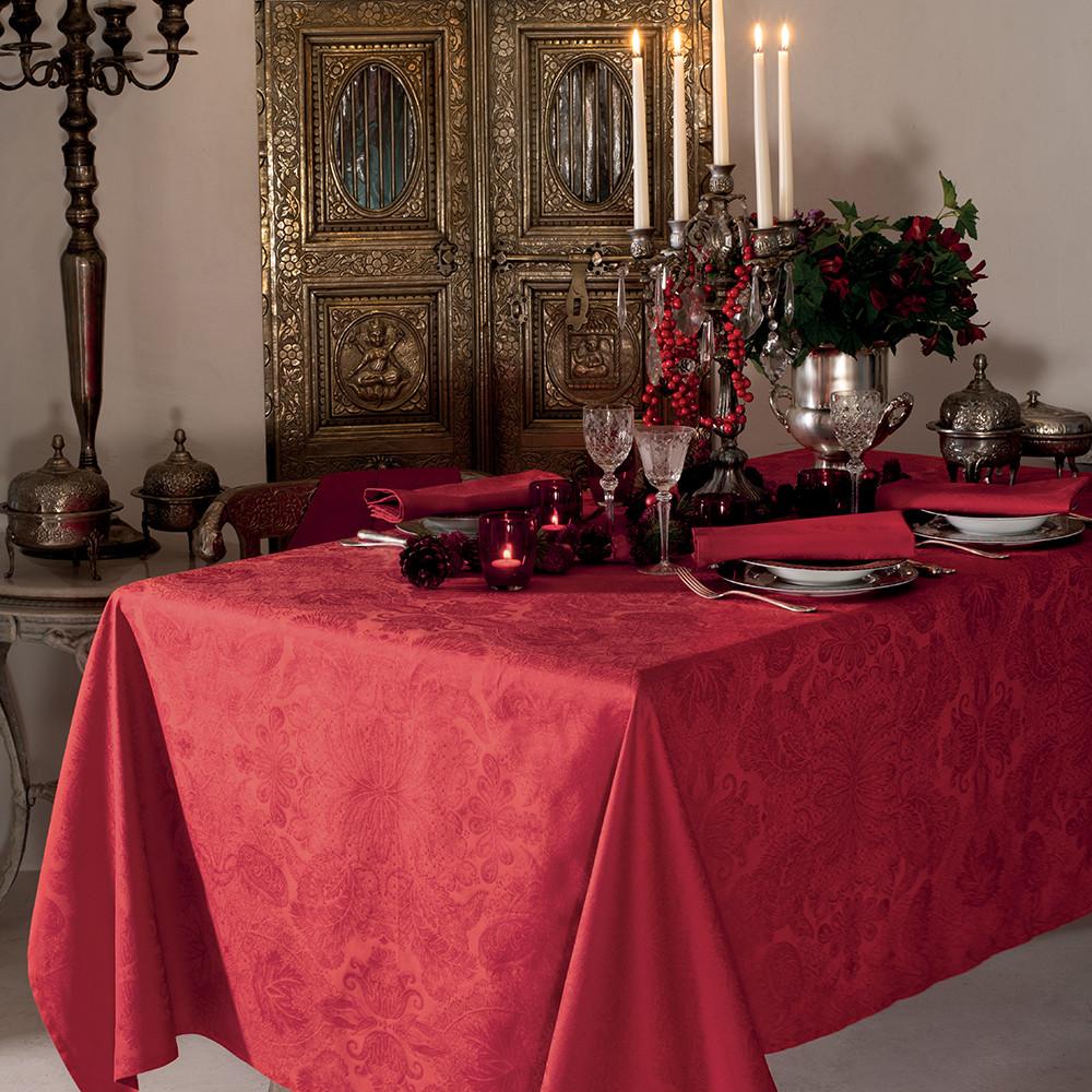Nappe carrée pur coton Rouge 115x115
