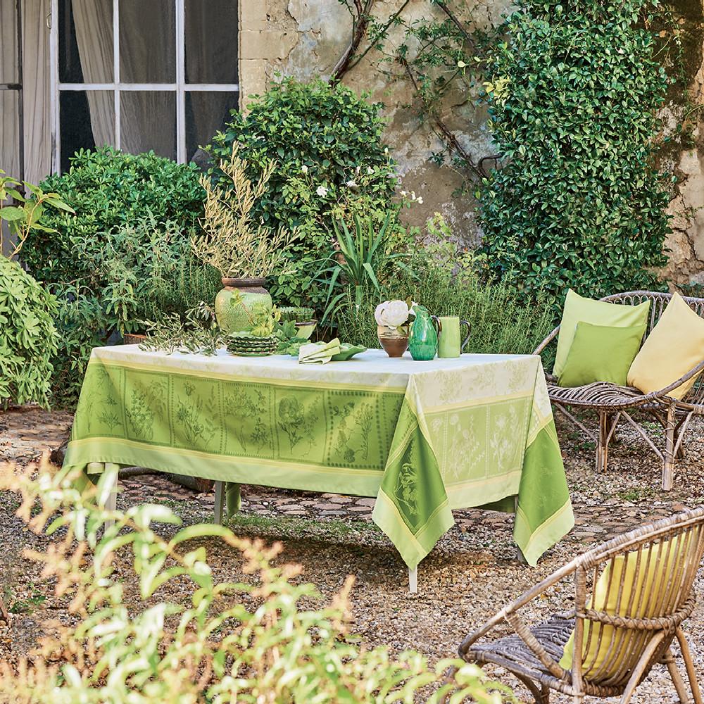 Nappe antitache déperlant pur coton vert 174X254
