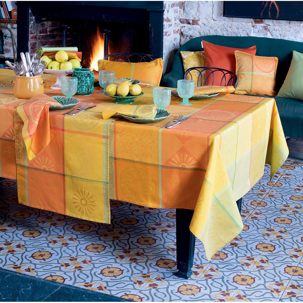 Nappe carrée pur coton Orange 155x155