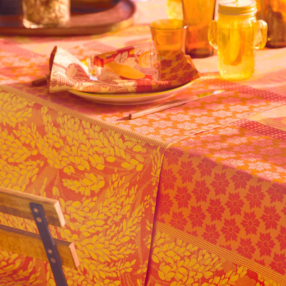 Chemin de table antitache déperlant pur coton orange 175X55