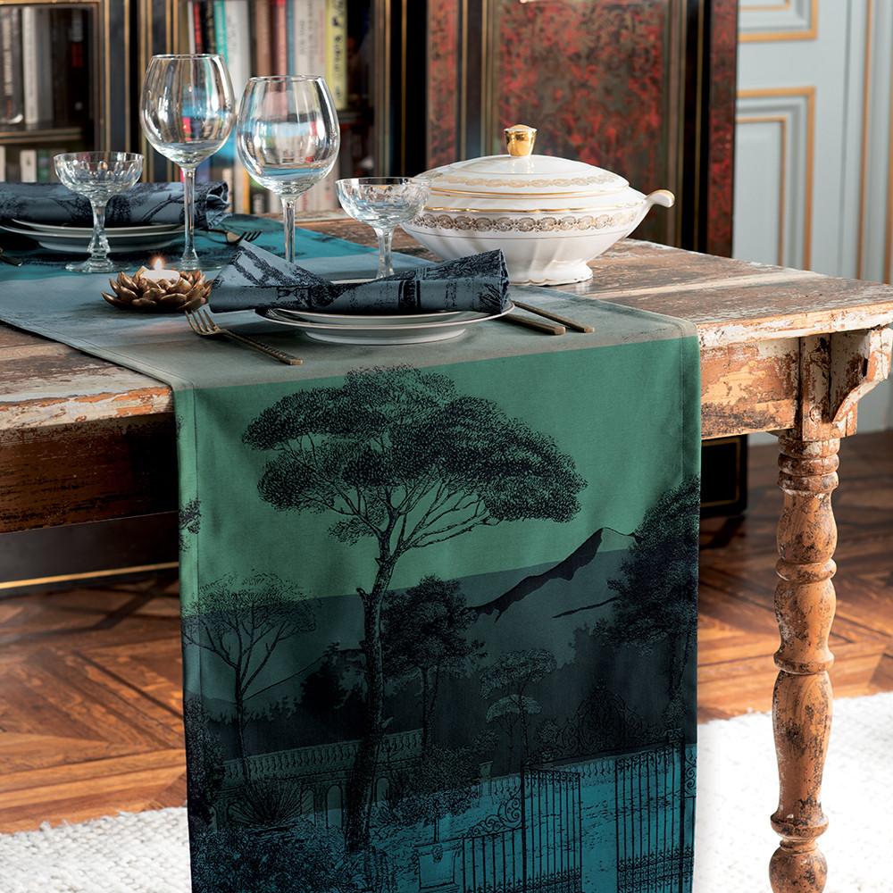 Chemin de table antitache déperlant pur coton vert 54X180