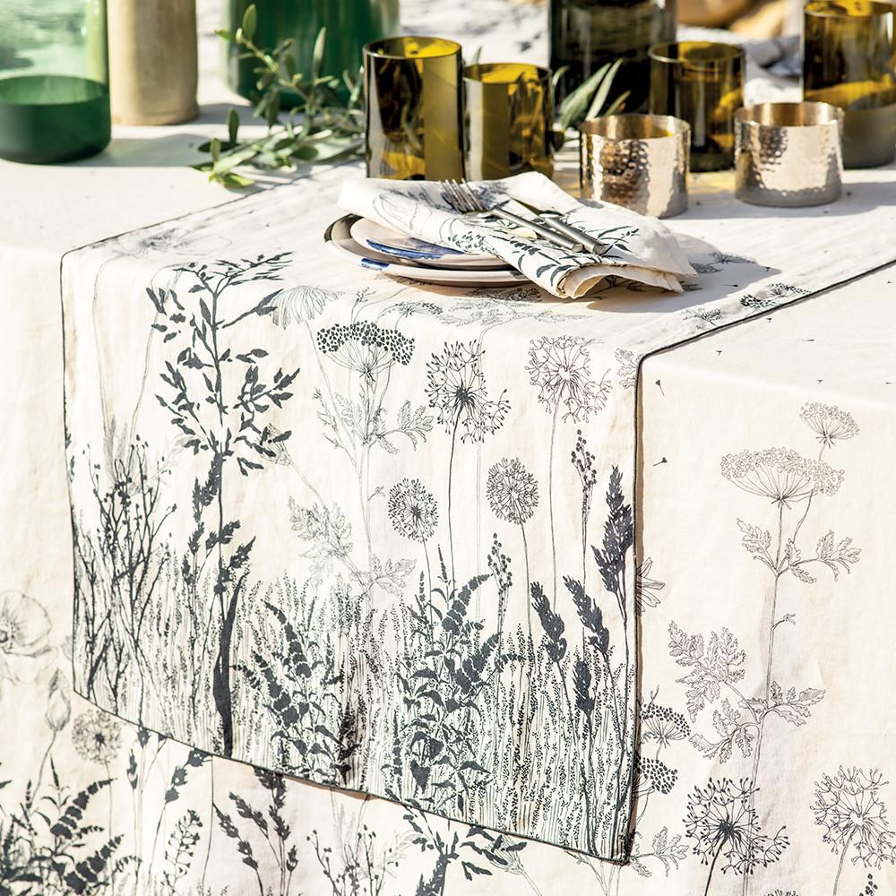 Chemin de table pur lin noir et blanc 50X155