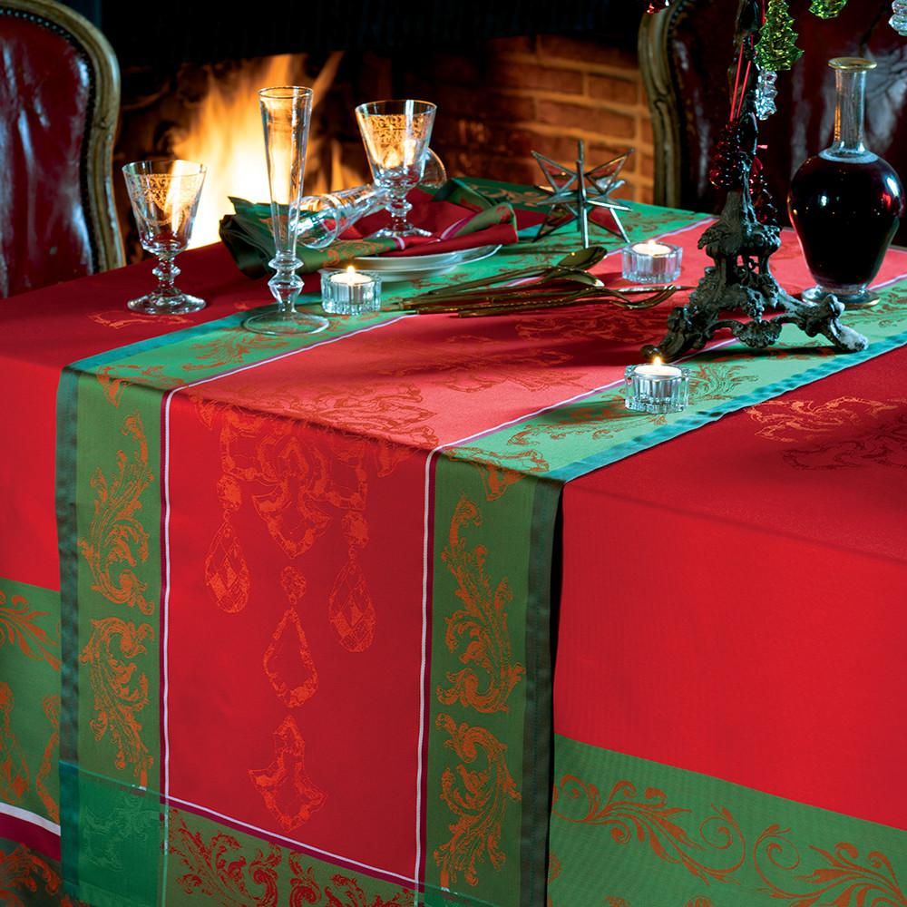 Chemin de table antitache déperlant pur coton rouge 55X150