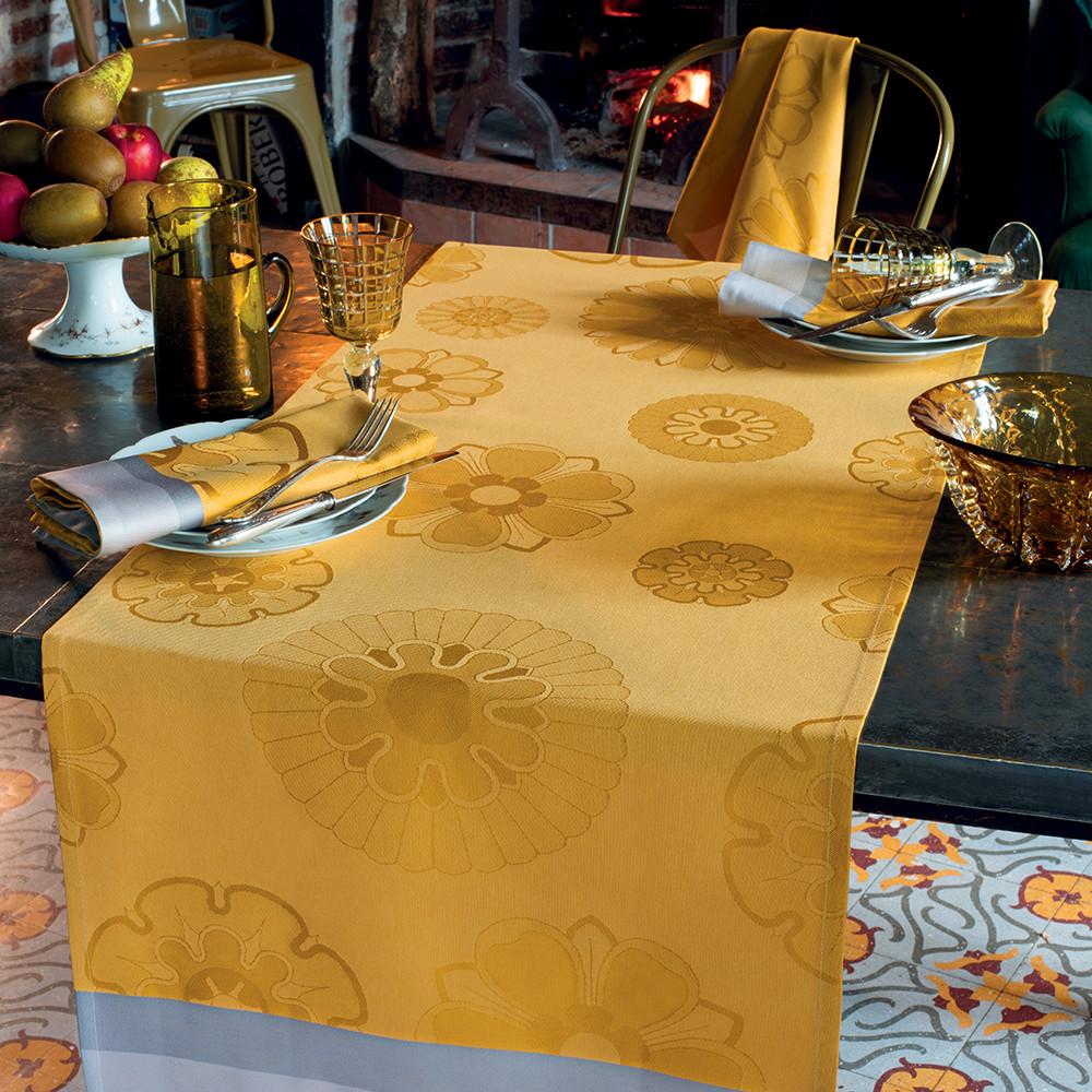 Chemin de table pur coton jaune 155X55