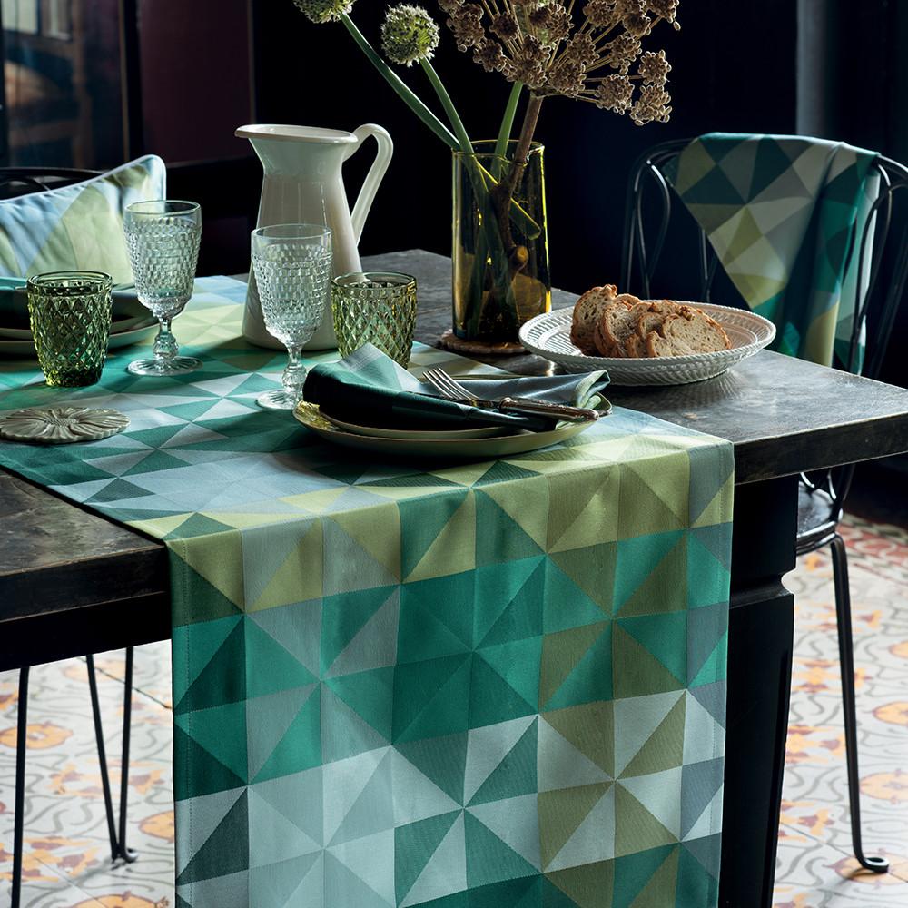 Chemin de table pur coton vert 155X55