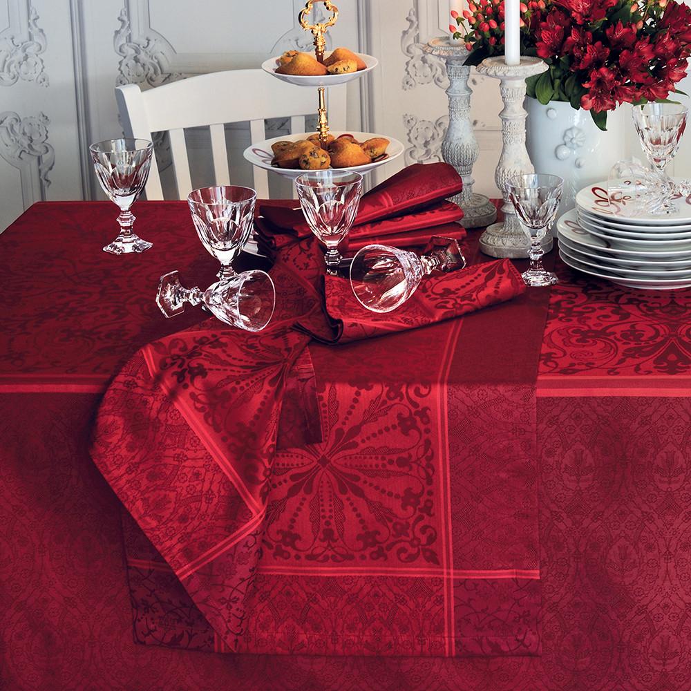 Chemin de table antitache déperlant pur coton bordeaux 52X147
