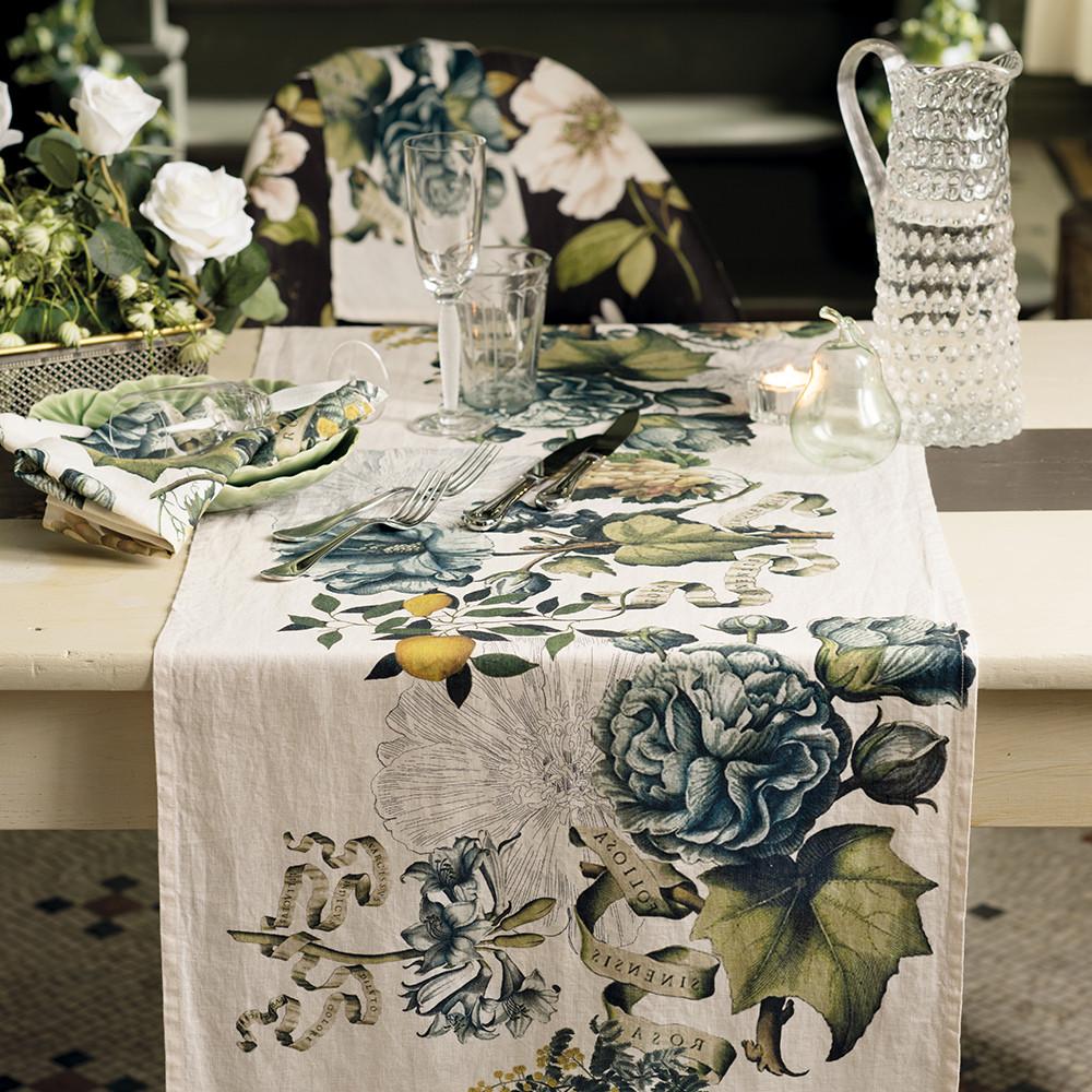 Chemin de table pur lin multicolore 50X155