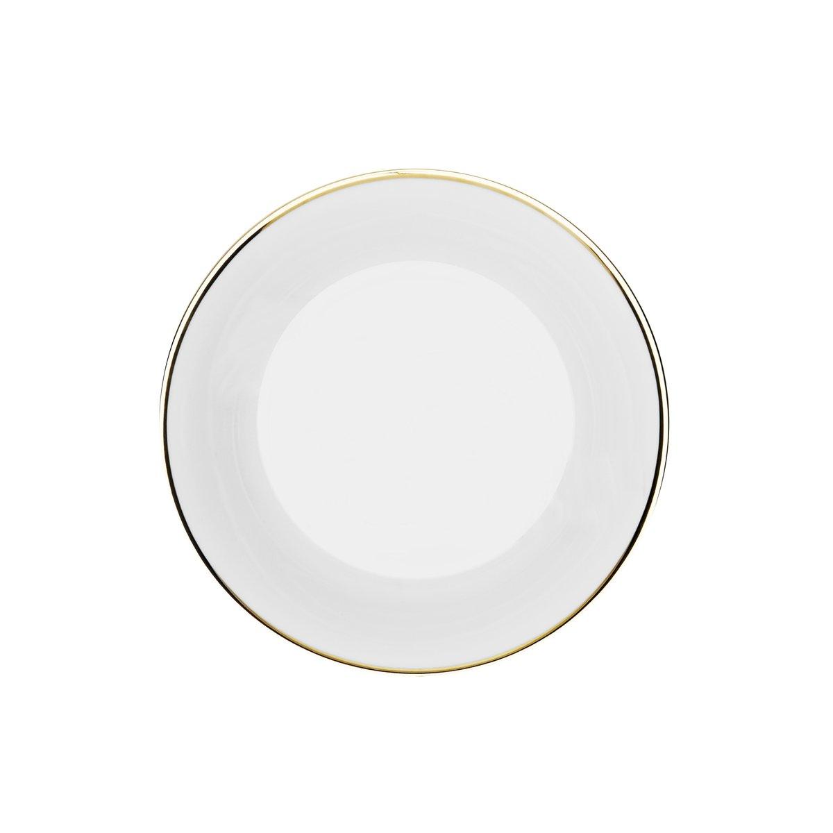 Assiette creuse Porcelaine de Limoges Blanche - Bord doré 19 cm