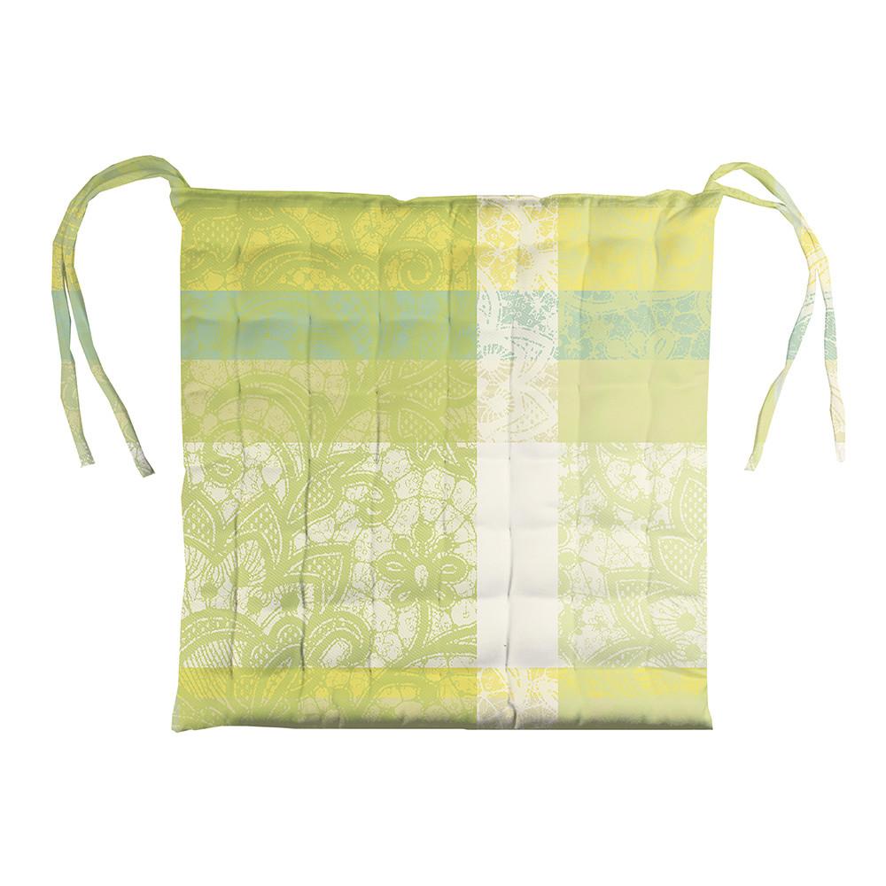 Galette de chaise enduit imperméable pur coton vert 38X38
