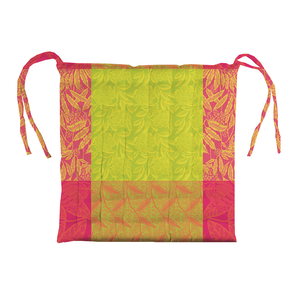 Galette de chaise enduit imperméable pur coton multicolore 38X38