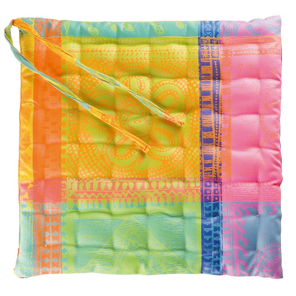 Galette de chaise enduit imperméable pur coton orange 38X38