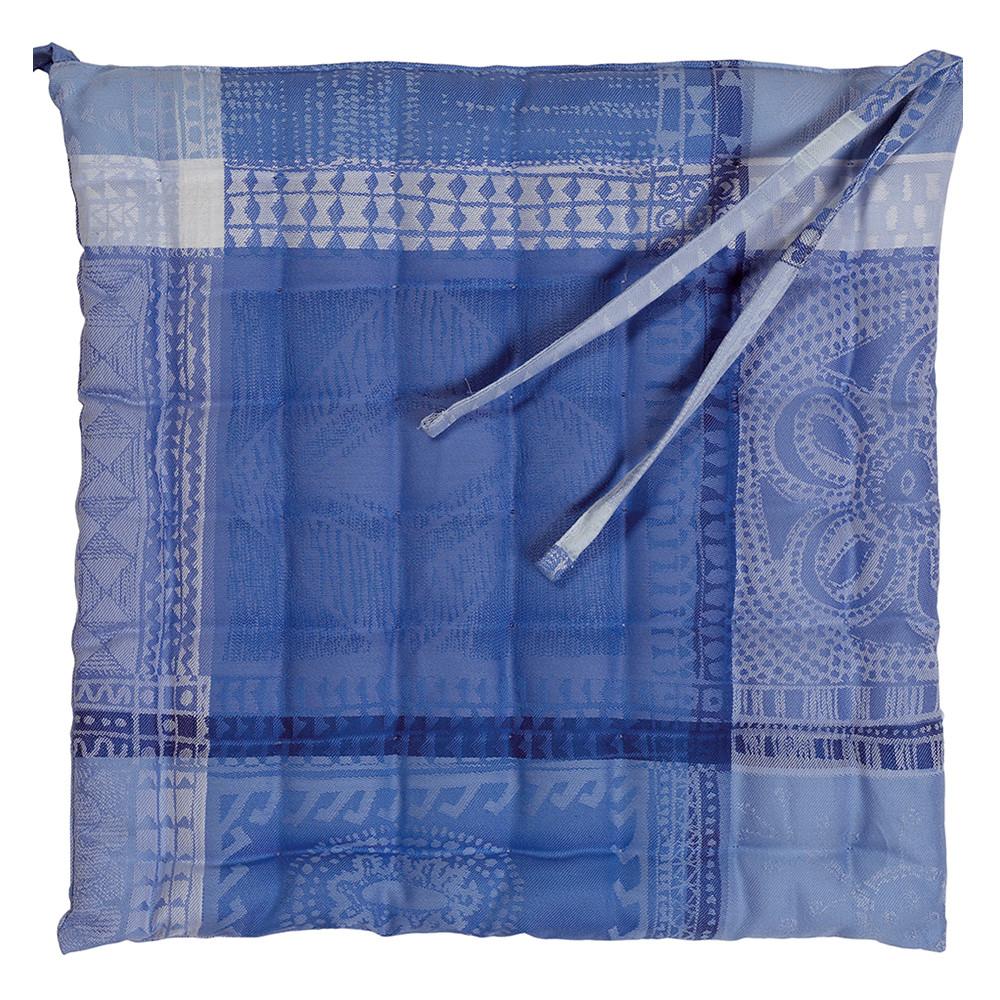 Galette de chaise enduit imperméable pur coton bleu 38X38