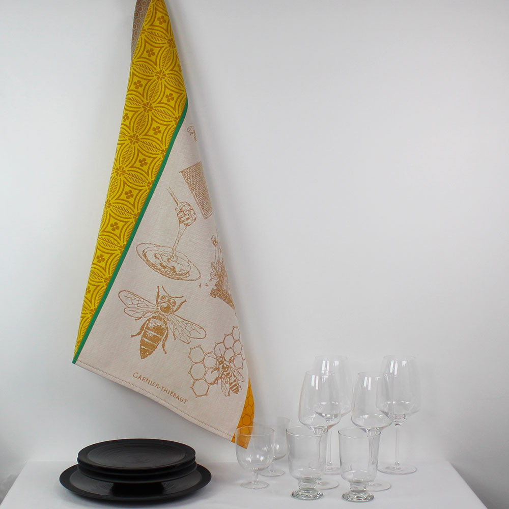 Torchon  pur coton beige 56x77