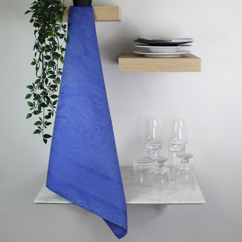 Torchon  métis lin & coton bleu 56x77