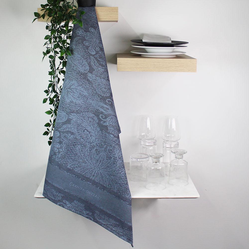 Torchon  métis lin & coton noir 56x77