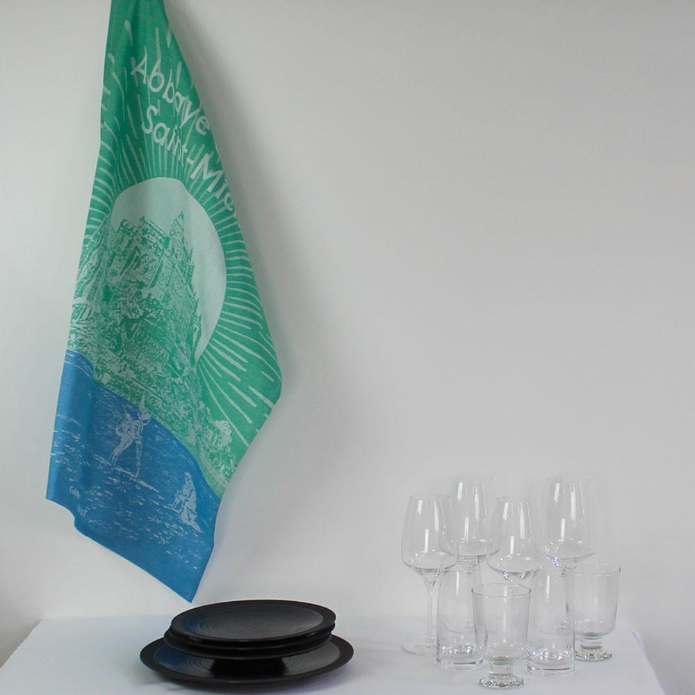 Torchon  pur coton vert 56x77