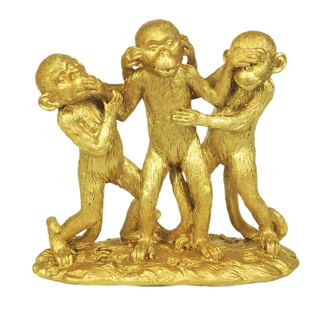 Statuette singes en résine aspect doré H15cm