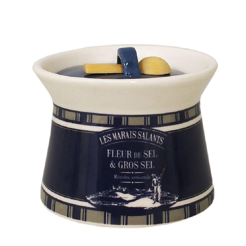 Pot à gros sel en céramique avec cuillère