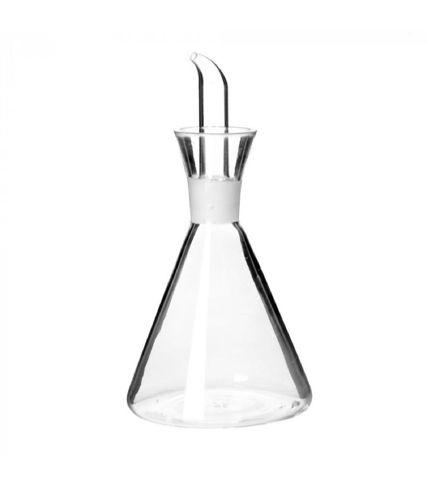 Huilier ou Vinaigrier conique en verre transparent anti goutte 250ml