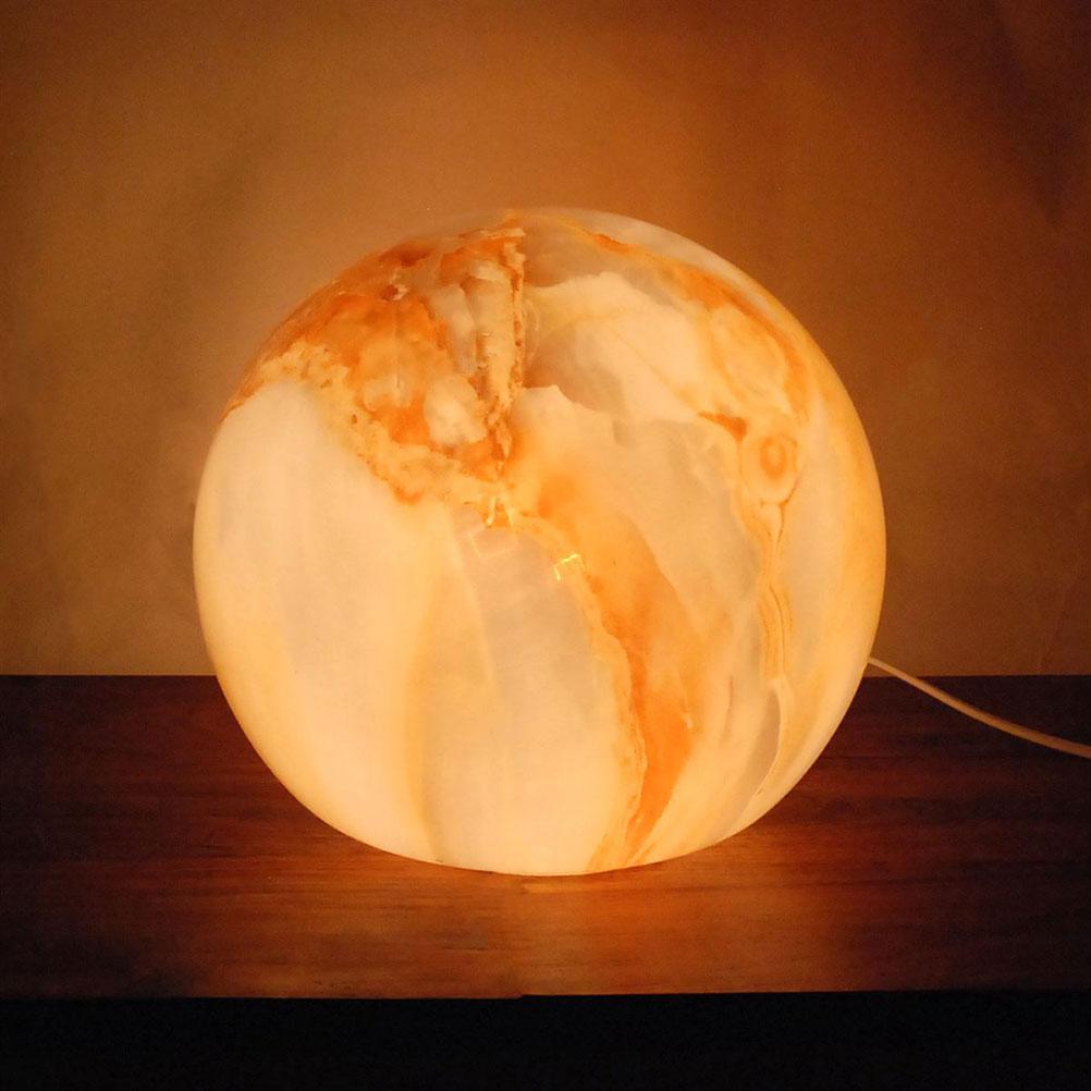 Lampe boule effet marbré orange D25cm