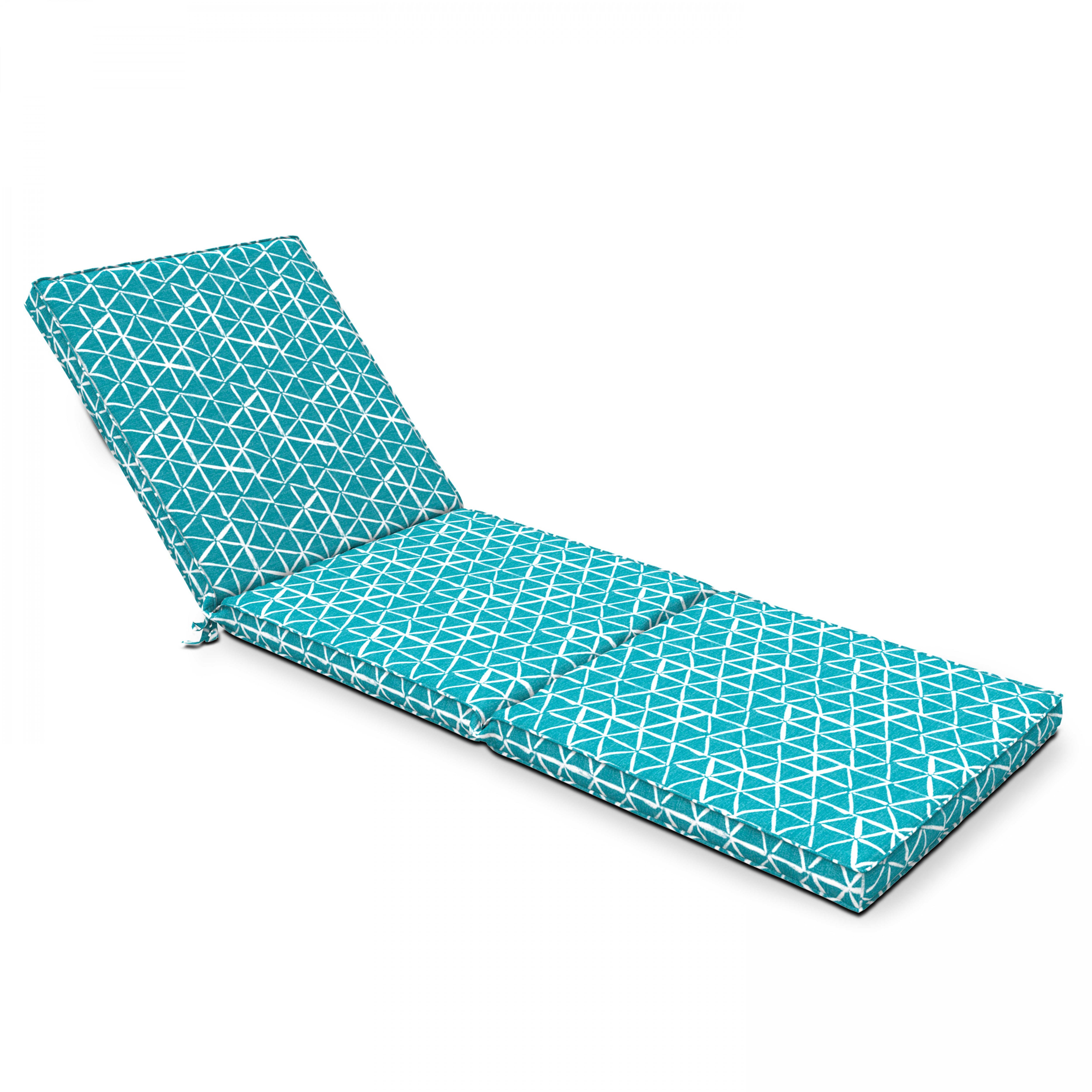 Coussin pour bain de soleil  en polyester bleu graphique
