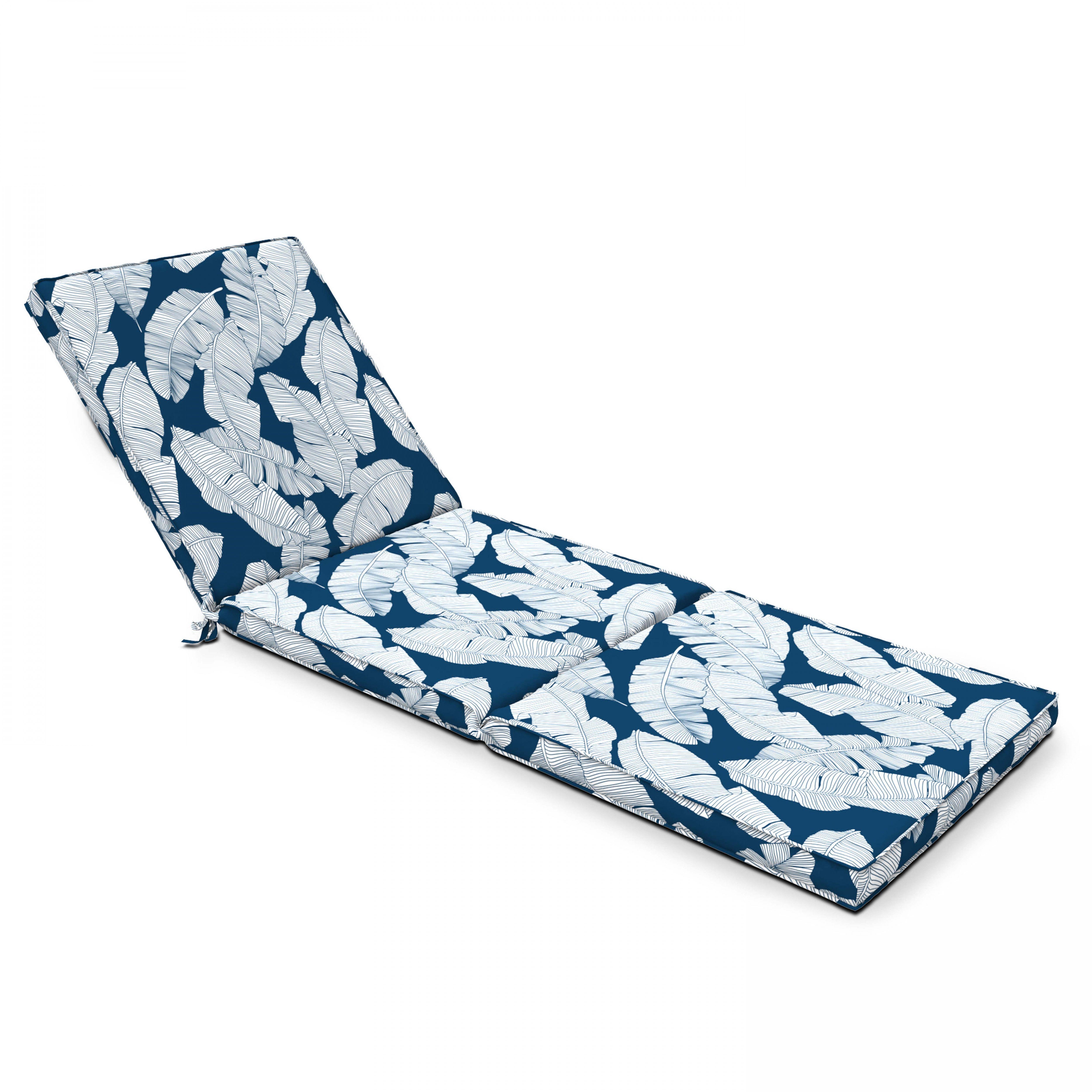 Coussin pour bain de soleil  en polyester imprimé feuilles bleu