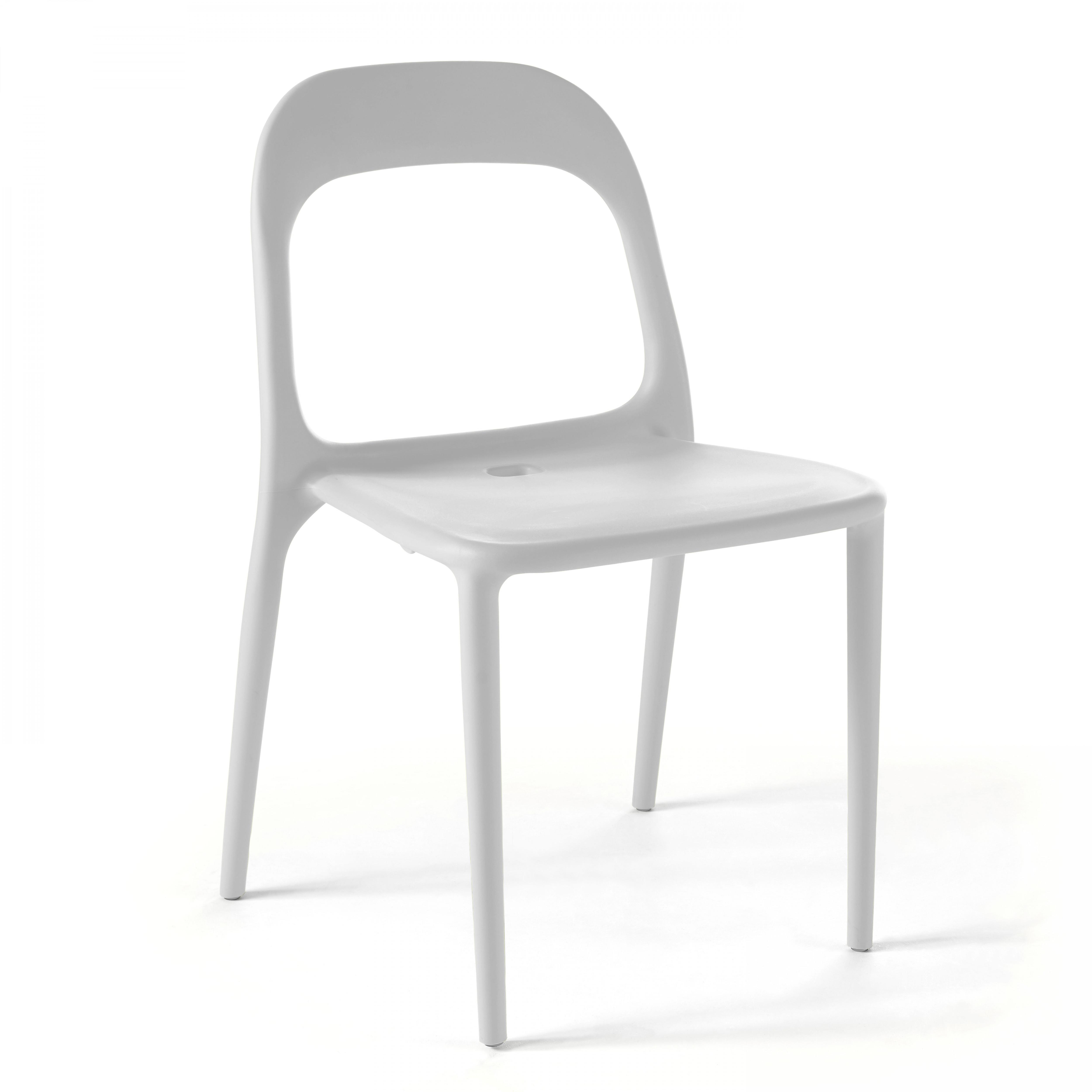 Chaise de jardin 1 place en plastique blanc